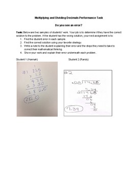 Multiplying and Dividing Decimals Performance Task
