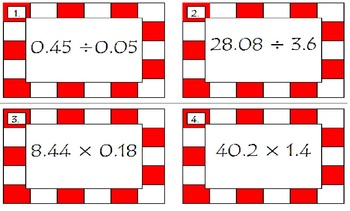 Multiplying and Dividing Decimals Pizza Game for 5th Grade