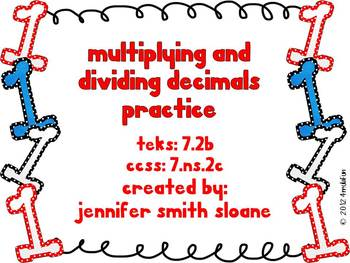 Multiplying and Dividing Decimals Practice