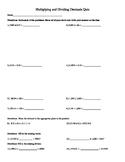 Multiplying and Dividing Decimals Quiz