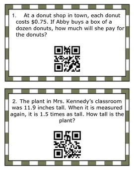 Multiplying and Dividing Decimals SCOOT with QR Code Answe