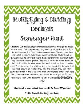 Multiplying and Dividing Decimals Scavenger Hunt Task Cards