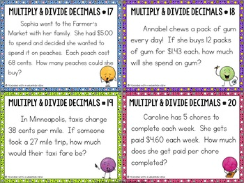 Multiplying and Dividing Decimals Task Cards Word Problems