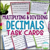 Multiplying and Dividing Decimals Task Cards Word Problems | Distance Learning