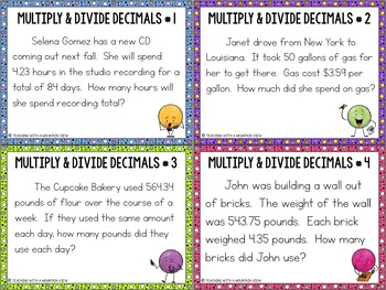Multiplying and Dividing Decimals Task Cards Word Problems   Distance Learning