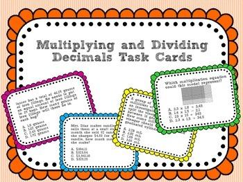 Multiplying and Dividing Decimals Task Cards (set 2)