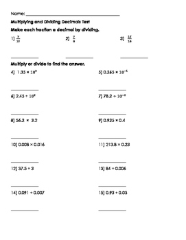Multiplying and Dividing Decimals Test