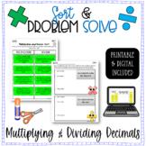 Multiplying & Dividing Decimals Word Problem Sort & Solve