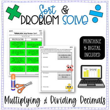 Multiplying and Dividing Decimals - {Word Problem Sort and
