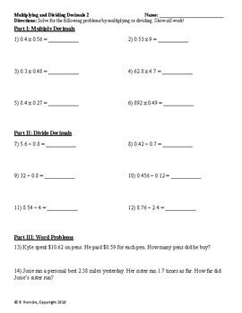 Multiplyingecimals Word Problems Worksheets 5th Grade Common ...