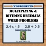 Multiplying and Dividing Decimals Worksheets (Word Problems) 5.NBT.7