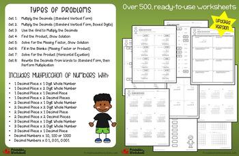 Multiplying and Dividing Decimals Worksheets Bundle