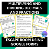 Multiplying and Dividing Decimals and Fractions Escape Room using Google Forms