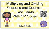 Multiplying and Dividing Decimals and Fractions Task Cards QR codes