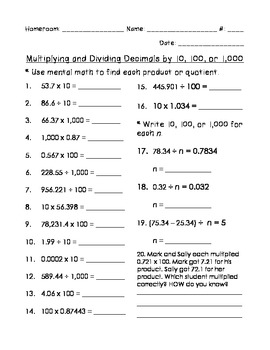 Multiplying and Dividing Decimals by 10, 100, or 1,000 (EnVision Math)