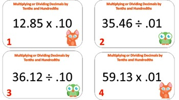 Multiplying and Dividing Decimals by Tenths and Hundredths Task Cards