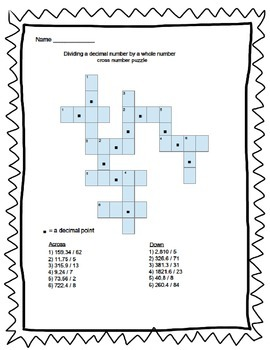 Multiplying and Dividing Decimals by Whole Numbers Cross Number Puzzle