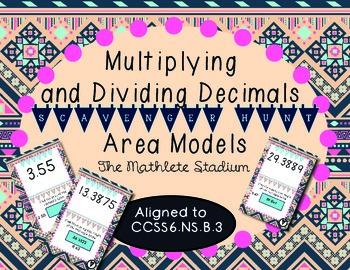 Multiplying and Dividing Decimals with Area Models Scavenger Hunt