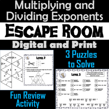 Multiplying and Dividing Exponents Game: Algebra Escape Room Math Activity