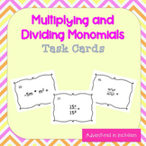 Exponents: Multiplying and Dividing Monomials Task Cards