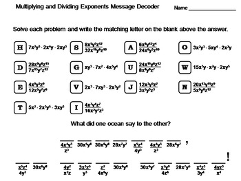 Multiplying And Dividing Exponents Worksheets Teaching Resources Tpt