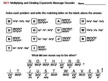 Multiplying and Dividing Exponents Worksheet: Math Message Decoder