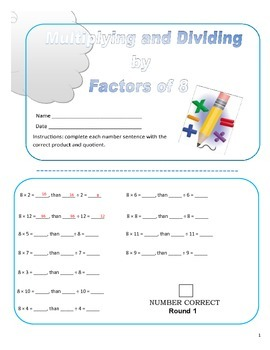 Multiplying and Dividing Factors of 8 Practice Sheets