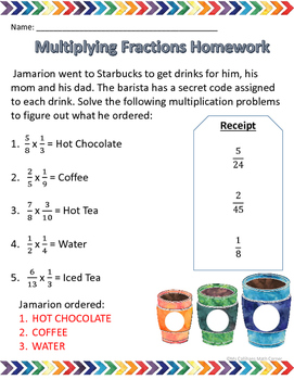 Multiplying and Dividing Fraction Homework