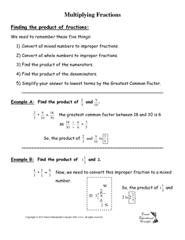 Multiplying and Dividing Fraction Notes