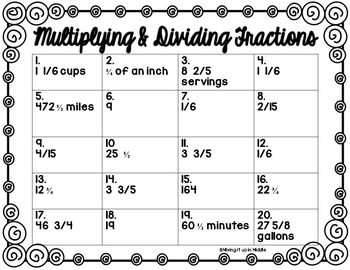 Multiplying and Dividing Fraction Word Problem Task Cards for Older Students