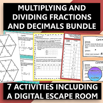 Multiplying and Dividing Fractions and Decimals Bundle