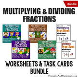 Multiplying and Dividing Fractions Task Cards & Worksheets Bundle