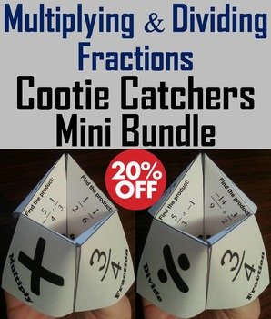 Multiplying and Dividing Fractions Practice Activities Bundle: 4th 5th 6th Grade