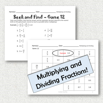 Multiplying and Dividing Fractions Activity