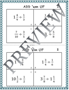 Multiply and Divide Fractions - Add 'em Up Group Activity