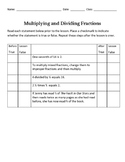 Multiplying and Dividing Fractions Anticipation Guide