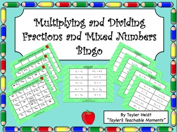 Multiplying and Dividing Fractions Bingo Game