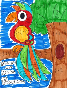 Multiplying and Dividing Fractions Bird Coloring Page