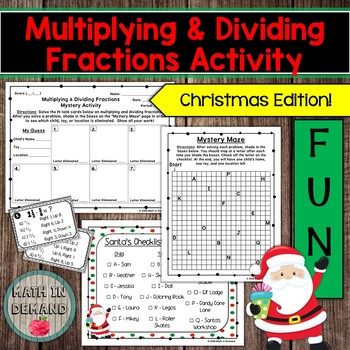 Multiplying and Dividing Fractions Christmas Mystery Activity