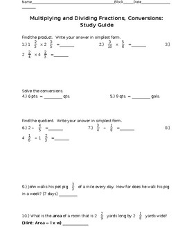 Multiplying and Dividing Fractions, Conversions