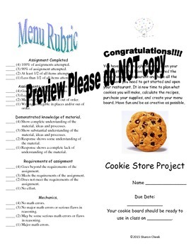Multiplying and Dividing Fractions & Decimals Cookie Project
