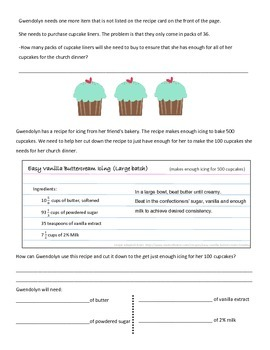 Multiplying and Dividing Fractions Enrichment- Gwendolyn's Cupcake Trouble