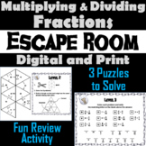 Multiplying and Dividing Fractions Escape Room/ Math Activity