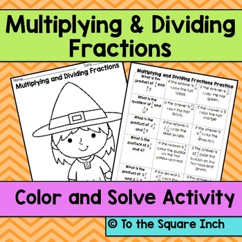 Multiplying and Dividing Fractions Halloween Color and Solve