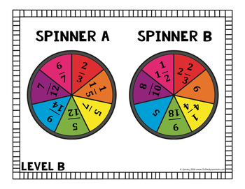 Multiplying and Dividing Fractions Leveled Spinners