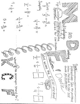 Multiplying and Dividing Fractions Math Doodle