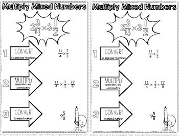 Multiplying and Dividing Fractions Math Notebook Page and Practice