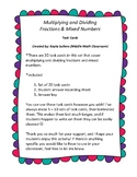 Multiplying and Dividing Fractions & Mixed Numbers Task Cards