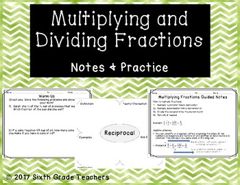 Multiplying and Dividing Fractions Notes and Practice Resources