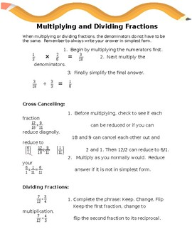 Multiplying and Dividing Fractions Notes and Worksheet